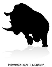 A rhino or rhinoceros safari animal silhouette