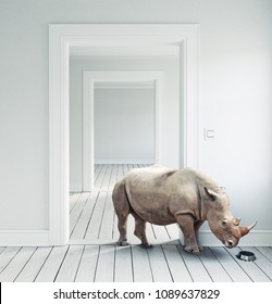 Rhino in the room as a pet. CG and photo combination. 3d rendering