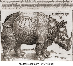 THE RHINOCEROS, Woodcut by Albrecht Durer, (1471-1528), drawn from the description of an Indian rhinoceros.