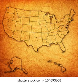 rhode island on old vintage map of usa with state borders