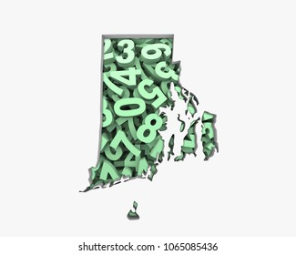 Rhode Island RI Map Numbers Math Figures Economy 3d Illustration