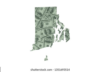 Rhode Island State Map and Money Concept, Hundred Dollar Bills