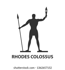 Rhodes colossus silhouette icon with torch and spear