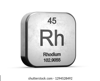 Rhodium element from the periodic table series. Metallic icon set 3D rendered on white background