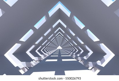 Rhomboid tunnel with windows, bridge, beams and cylindrical light fixtures. Perspective view. Rendering of 3d model. Image in blue tones. Light at the end of the tunnel. Abstract architecture.