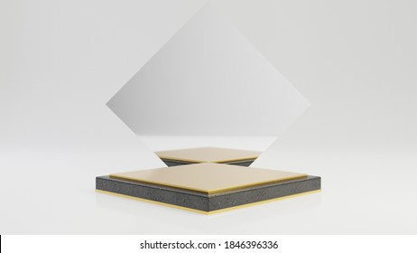 Rhombus black granite pedestal with gold top and mirror isolated on white background. 3d rendered minimalistic abstract background concept for product placement.