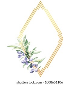 Rhombus golden line frame with olive tree branch watercolor hand drawn illustration