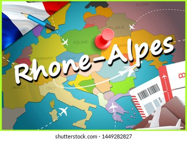 Rhone-Alpes city travel and tourism destination concept. France flag and Rhone-Alpes city on map. France travel concept map background. Tickets Planes and flights to Rhone-Alpes holidays French