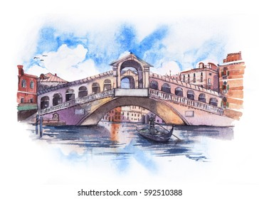 Rialto Bridge in Venice with blue cloudy sky , watercolor painting.