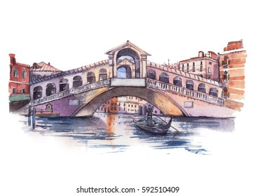 Rialto Bridge in Venice , watercolor painting isolated in white background.