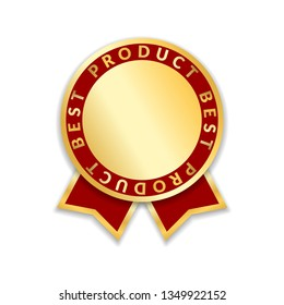 Ribbon award best product of year 2017. Gold ribbon award icon isolated white background. Best product golden label for prize, badge, medal, guarantee quality product illustration