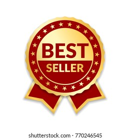 Ribbon award best seller. Gold ribbon award icon isolated white background. Bestseller golden tag sale label, badge, medal, guarantee quality product, business certificate illustration