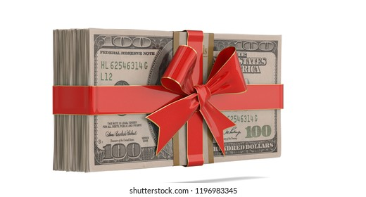 Ribbon and bow with dollar stack isolated on white background 3D illustration.
