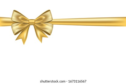 Ribbon bow gift, isolated white background. Satin gold design festive frame. Decorative Christmas, Valentine day card, present holiday decoration. Birthday shiny silk ribbon bow illustration