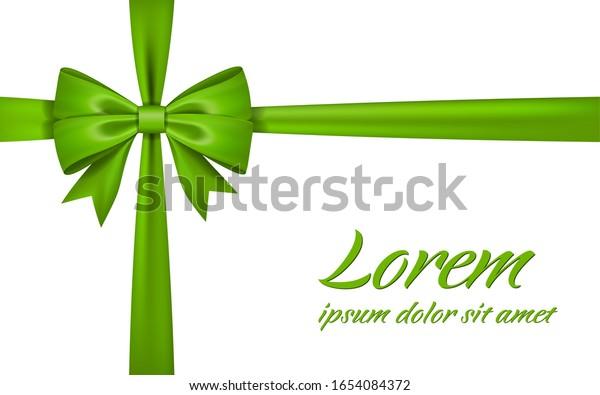 Ribbon bow gift, isolated white background. Satin design festive frame. Decorative Christmas, Valentine day card, present holiday decoration. Birthday shiny silk ribbon bow illustration