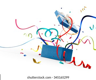 Ribbon and confetti popping out from blue gift box isolated on white