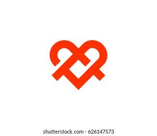 Ribbon heart symbol icon logo with shadows. Line medical logotype.
