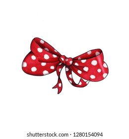 Ribbon knot handdrawn raster illustration. Realistic red polka dots gift bow drawing. Bowknot clipart. Cartoon bow-tie. Isolated color hairpin. Doodle hair accessory. Greeting card design element