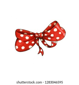 Ribbon knot handdrawn raster illustration. Realistic red polka dots gift bow drawing. Bowknot clipart. Cartoon bow-tie. Isolated color hairpin. Doodle hair accessory. Banner, greeting card design elem