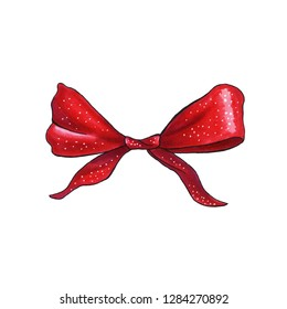 Ribbon knot handdrawn raster illustration. Realistic red gift bow drawing. Bowknot clipart. Cartoon bow-tie. Isolated color hairpin. Doodle hair accessory. Banner, poster, greeting card design element