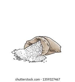 rice sacks spilled