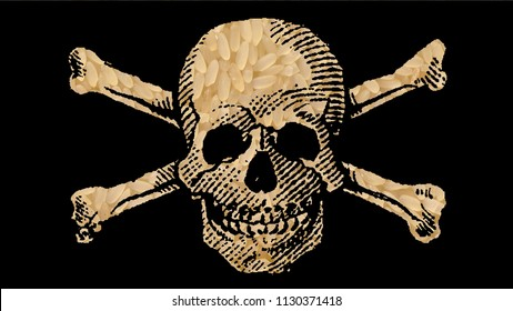 "RICE with Toxic Substance: ""Danger POISON"" illustrated with Skull and Crossbones"