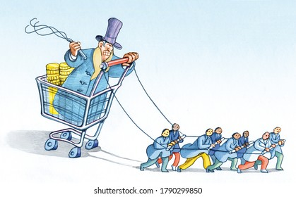 rich banker sitting in a supermarket trolley whips a row of workers to tow him political satire pencil illustration