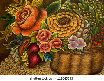 Rich Bouquet - Still Life of Flowers - oil painting