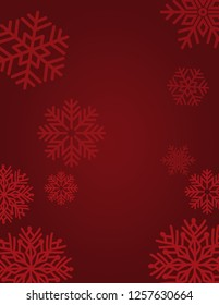 Rich burgundy and red christmas background with beautiful snowflakes.