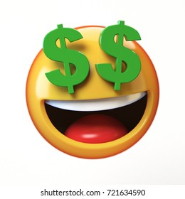 Rich emoji isolated on white background, dollar eyes emoticon 3d rendering