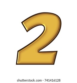 Rich Golden Color Metal Block Style Number Two 2 In A 3D Illustration With Smooth