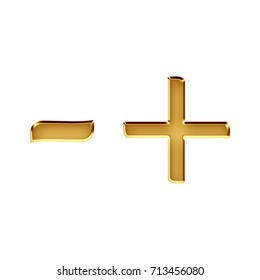 Rich golden metallic beveled dash or hyphen line plus and minus signs math symbols 3D illustration with a deep gold shiny metal classic font isolated on a white background with clipping path.