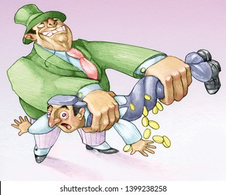 a rich industrialist squeezes like a rag a poor worker from whom come out pennies pencil humorous draw