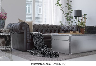 Rich living room in city apartment with brown leather couch, metal box coffee table with chessboard, indoor plant and lamp with black shade, low angle view. 3d Rendering.