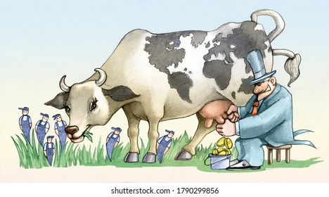 a rich man consumes World Resources represented by a financier milking a cow with drawn the world on the mantle