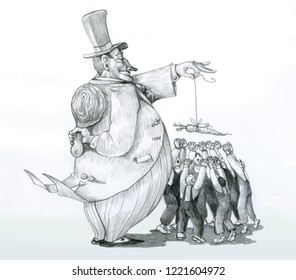 rich master  attracts workers with carrot and he hides a big baton political cartoon pencil humor draw