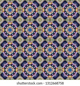 Rich ornament. Kaleidoscopic orient popular style in gray, black and yellow colors. Sloping seamless colorful ornament for design and backgrounds.