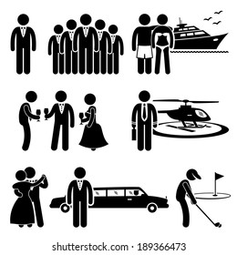 Rich People High Society Expensive Lifestyle Activity Stick Figure Pictogram Icon Cliparts