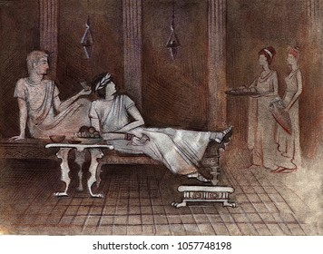 Rich Roman men drink wine on sunbeds, they are served by young slaves, in whose hands a silver tray and amphora with wine