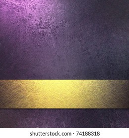 Rich Royal Purple Background With Dark Grunge Texture And Soft Highlight Bright Gold Ribbon Accent
