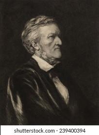 Richard Wagner (1913-1883) German composer. Portrait etching by German born artist Hubert von Herkomer (1849-1914)