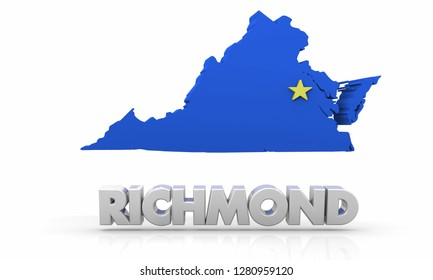 Richmond Virginia VA City State Map 3d Illustration