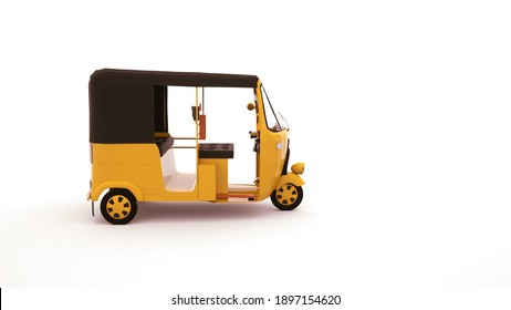 Rickshaw car for transporting people, 3d element isolated on white background. High-speed car for transporting people in India.