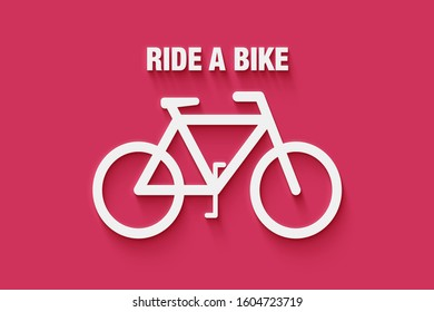 Ride a bike text with a bicycle in 3d on red/pink background