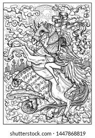 Rider. Black and white mystic concept for Lenormand oracle tarot card. Graphic engraved illustration. Fantasy line art drawing and tattoo sketch. Gothic, occult and esoteric background