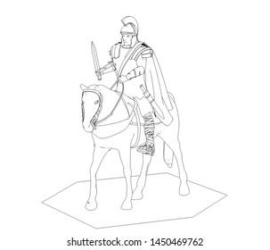 rider, contour visualization, 3D illustration, sketch, outline