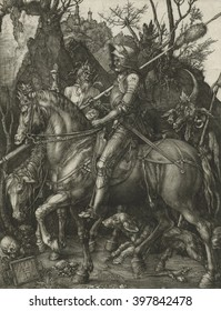Rider, Death and the Devil, by Albrecht Durer, 1513, German print, engraving