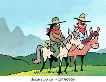 Des randonneurs à cheval