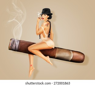Riding Cigar Pin Up