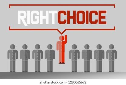 Right choice business unique concept, 3D rendering